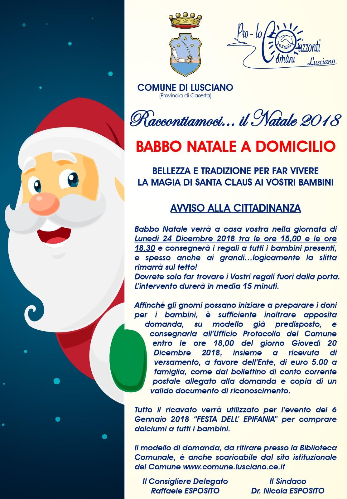 Babbo Natale A Domicilio.Babbo Natale A Domicilio Comune Di Lusciano
